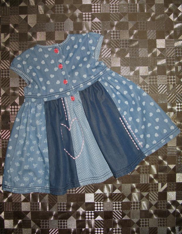 Красивое пышное хлопковое джинсовое платье tu 9-12мес - Фото 2