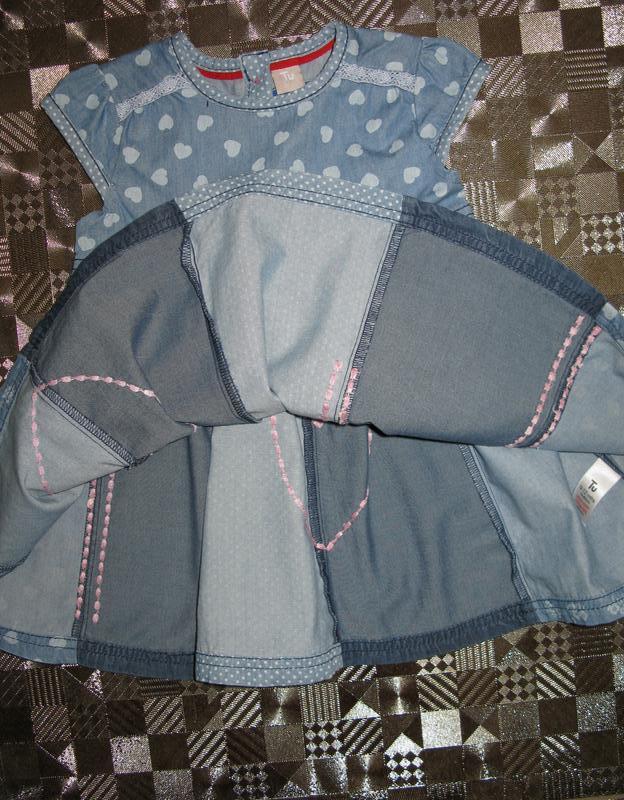 Красивое пышное хлопковое джинсовое платье tu 9-12мес - Фото 3