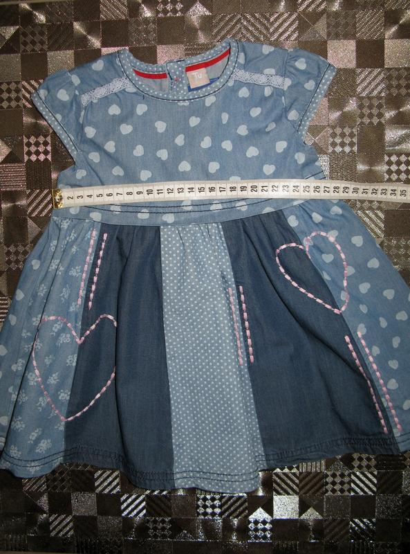 Красивое пышное хлопковое джинсовое платье tu 9-12мес - Фото 6