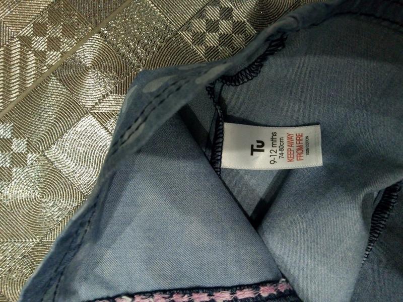 Красивое пышное хлопковое джинсовое платье tu 9-12мес - Фото 7