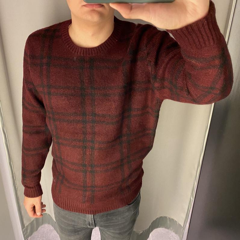 Бордовый свитер в клетку пуловер smog есть размеры