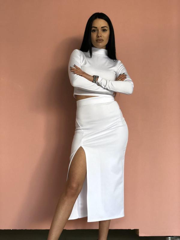 Костюм комплект топ и юбка белый - Фото 2
