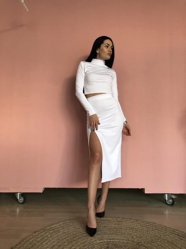 Костюм комплект топ и юбка белый - Фото 4
