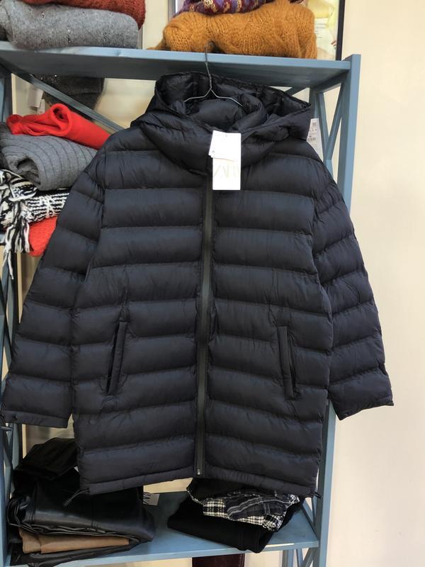 Стёганная длинная куртка от zara - Фото 5