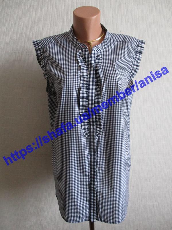 Хлопковая блуза в клетку tcm tchibo - Фото 6