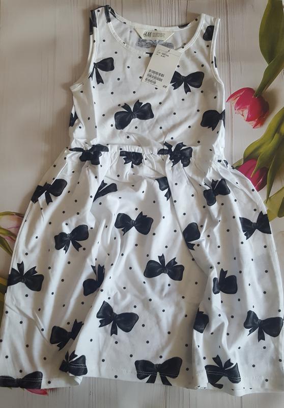 Трикотажное платье сарафа h&m от 6-8лет . 100% хлопок.
