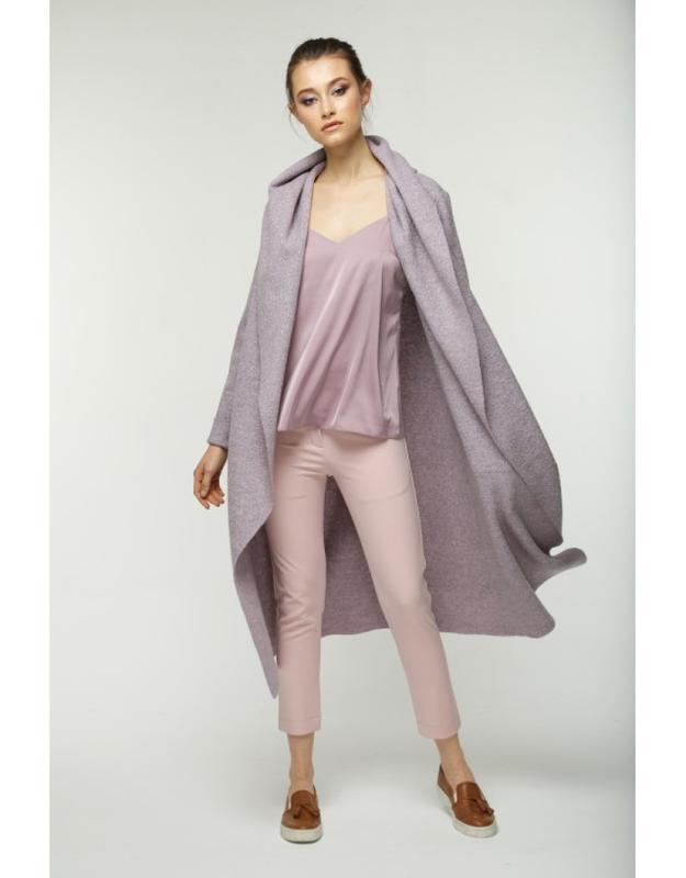 Шерстяное лиловое пальто кардиган на запах дизайнерское с капю... - Фото 4