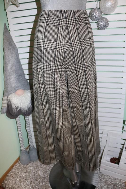 Широкие штаны в гусиную лапку h&m - Фото 2