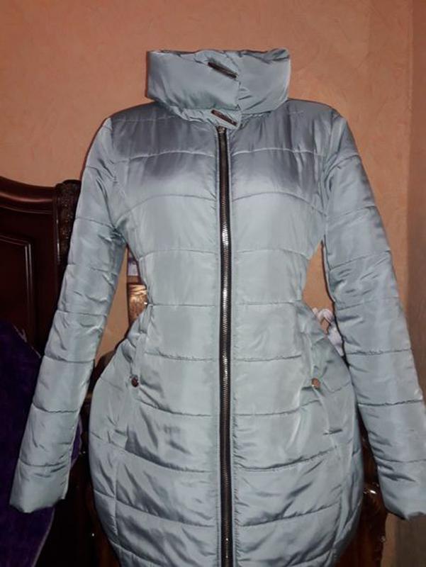 Куртка курточка Деми сезонная пуховик мятного цвета - Фото 2
