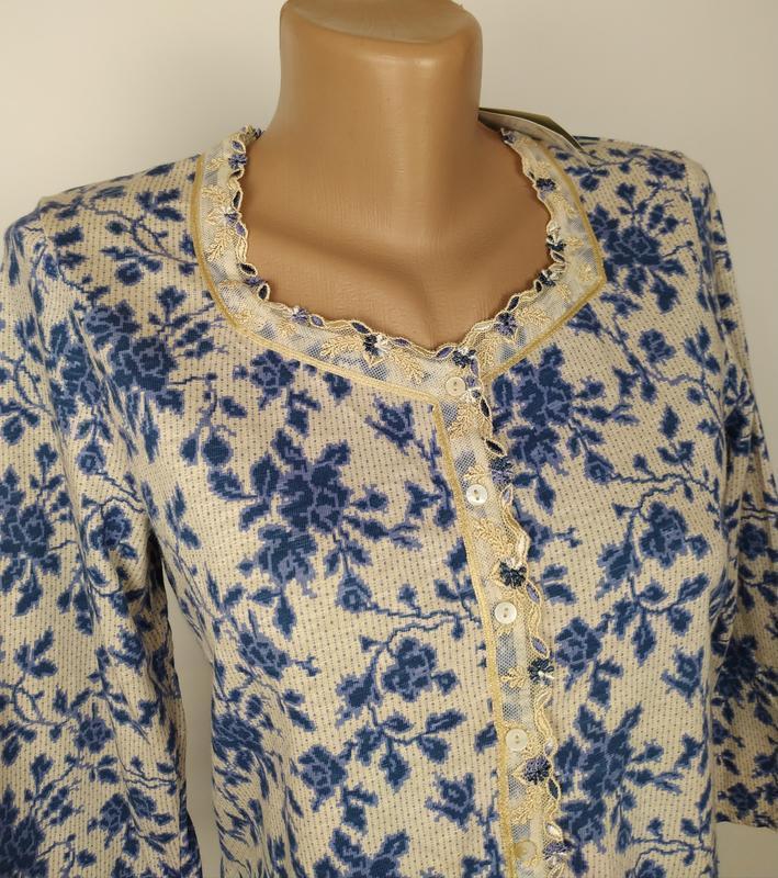 Блуза новая трикотажная в принт джерси laura ashley uk 12/40/m - Фото 2