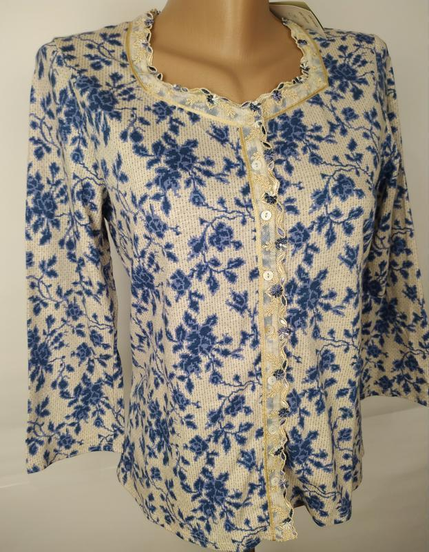 Блуза новая трикотажная в принт джерси laura ashley uk 12/40/m - Фото 3