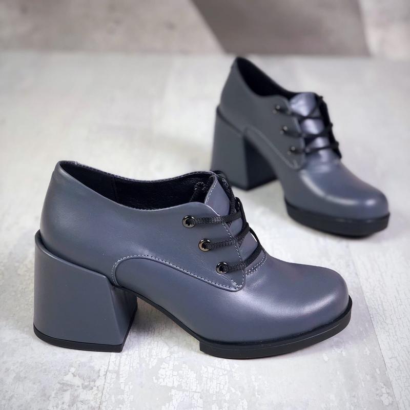 Натуральная кожа. закрытые туфли на шнурках на ассиметричном к... - Фото 2