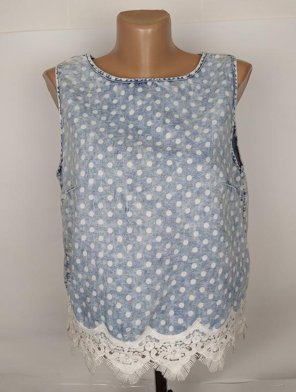 Блуза топ варенка стильная кружево горошек denim co uk 12/40/m