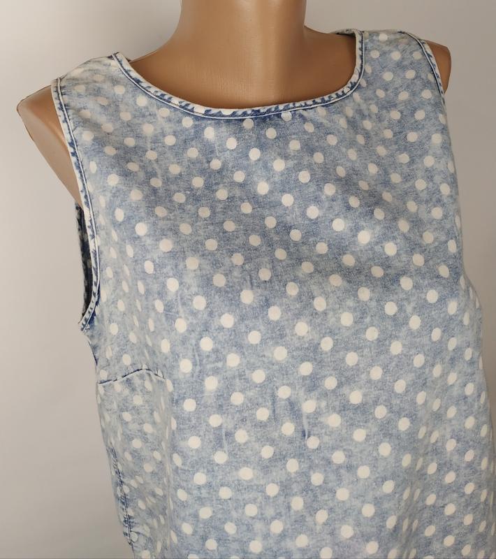 Блуза топ варенка стильная кружево горошек denim co uk 12/40/m - Фото 2