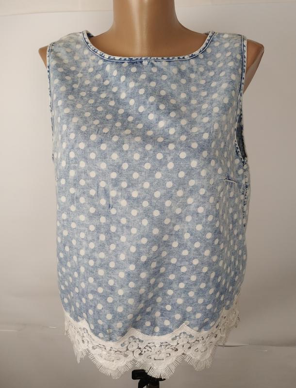 Блуза топ варенка стильная кружево горошек denim co uk 12/40/m - Фото 4