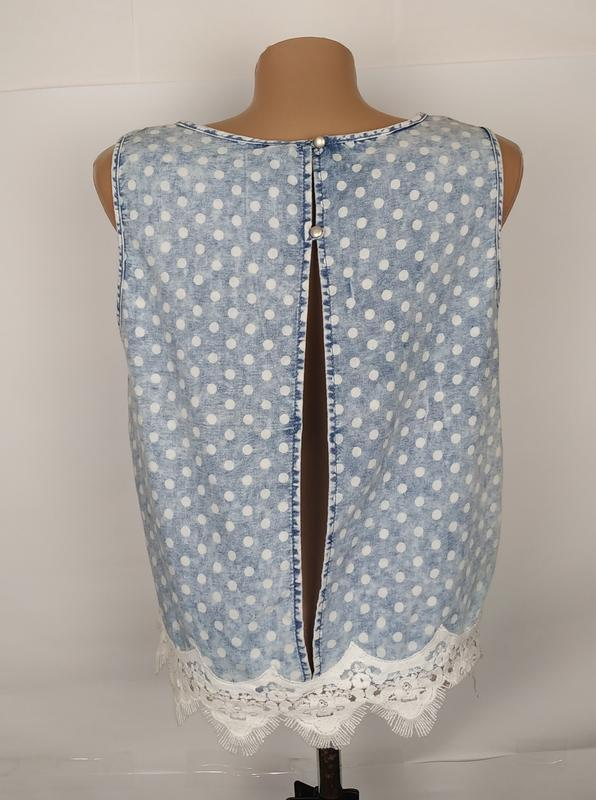 Блуза топ варенка стильная кружево горошек denim co uk 12/40/m - Фото 5