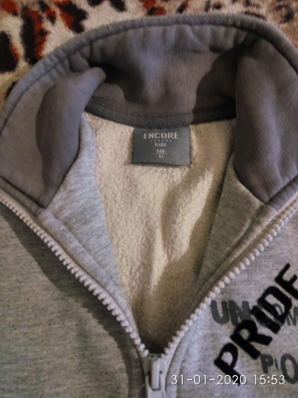 Толстовка флиска кофта свитер Encore Kids 146см Турция серая тепл - Фото 2