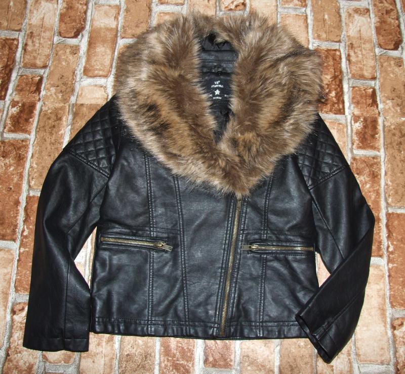 Куртка девочке кажаная косуха с мехом 8 - 9 лет - Фото 2