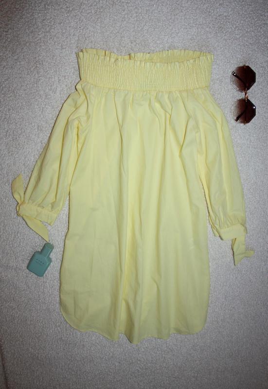 Милое желтое платье на лето с открытыми плечиками - Фото 3