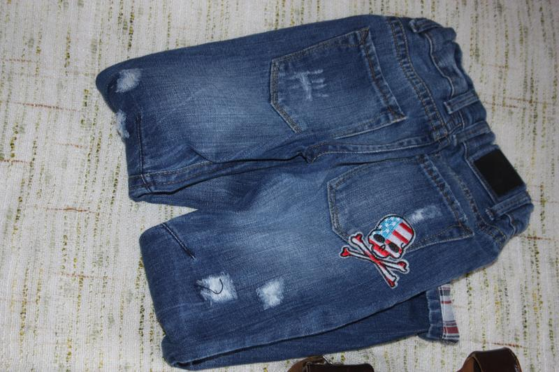 Модные джинсы на мальчика с потертостями. скинни на осень - Фото 4