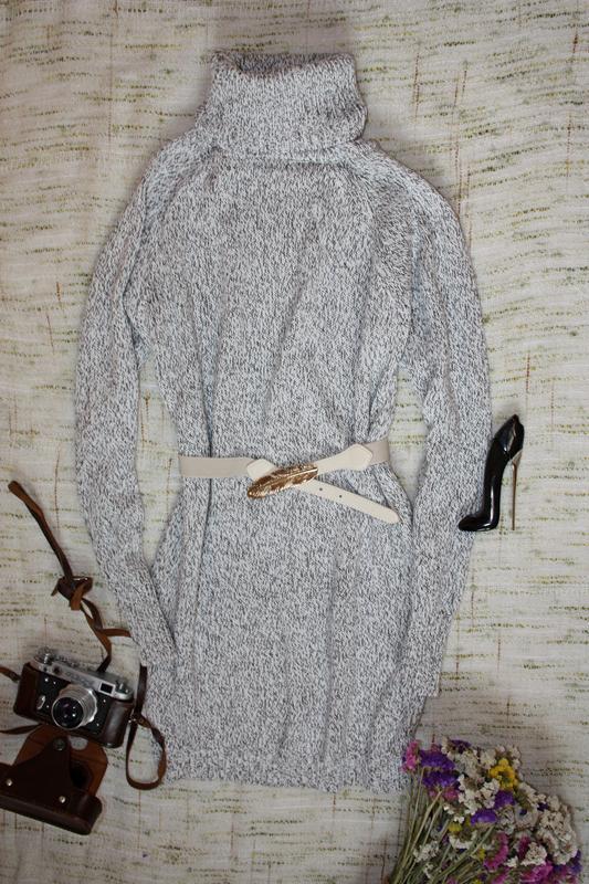 Теплое платье туника. вязаное платье -гольф - Фото 2