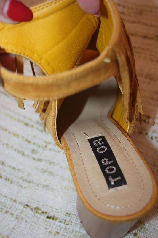 Стильные босоножки с бахрамой. туфли на каблуке top or горчичн... - Фото 3