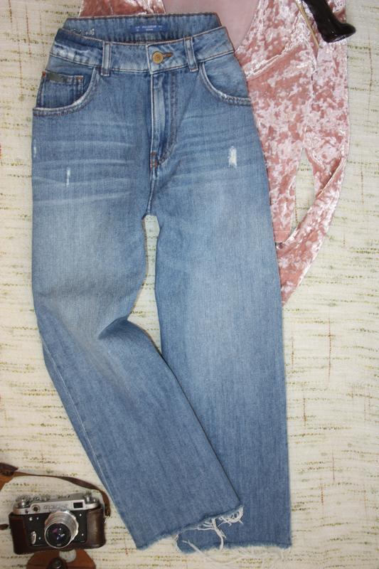 Стильные кюлоты . джинсы укороченные. джинсы с высокой посадкой - Фото 2