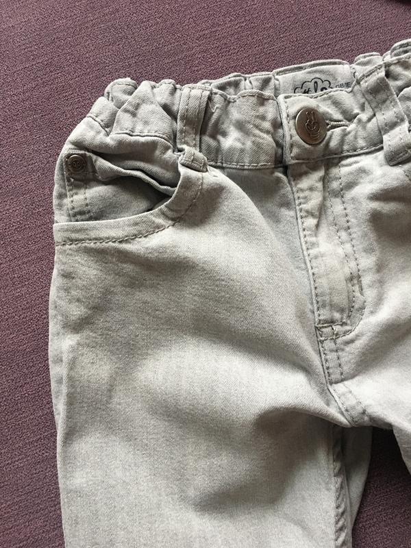 Клевые серые узкие джинсы lupilu 4/6 годика - Фото 2