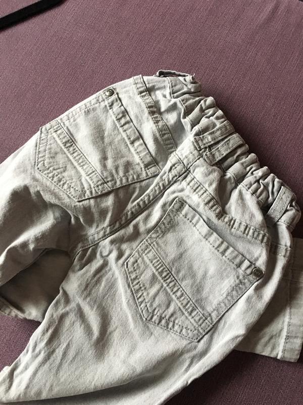 Клевые серые узкие джинсы lupilu 4/6 годика - Фото 3