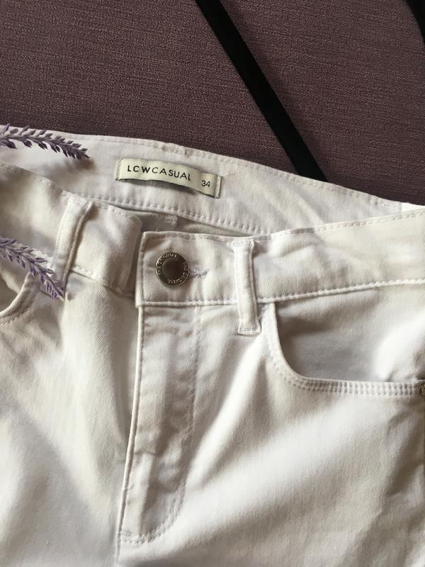 Актуальные белые котоновые  штаны,джинсы с высокой посадкой и ... - Фото 3