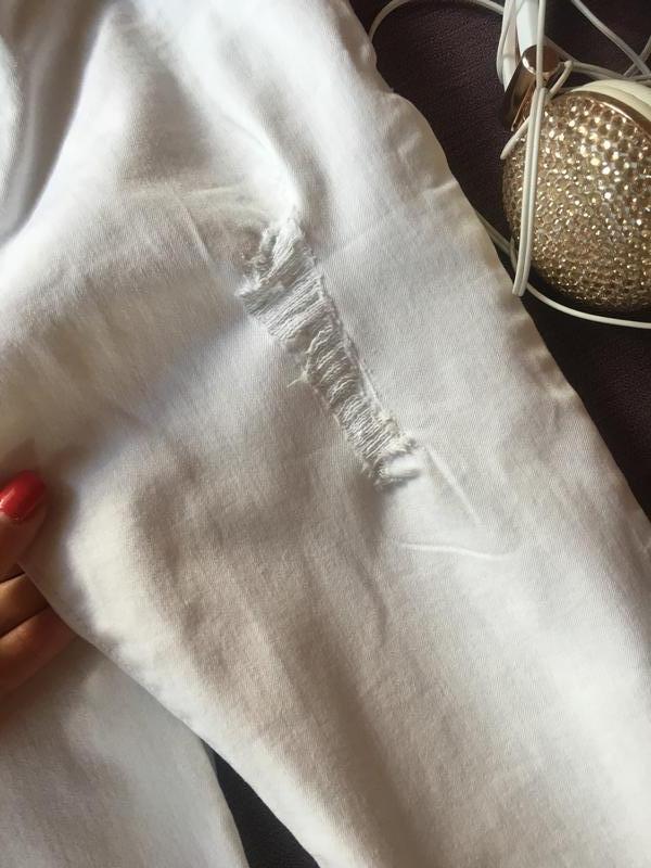 Актуальные белые штаны , скинни с рваностями denim&co - Фото 2