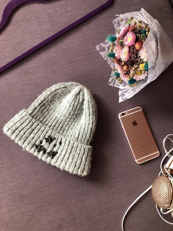 Теплая актуальная серая шапка , шапочка primark