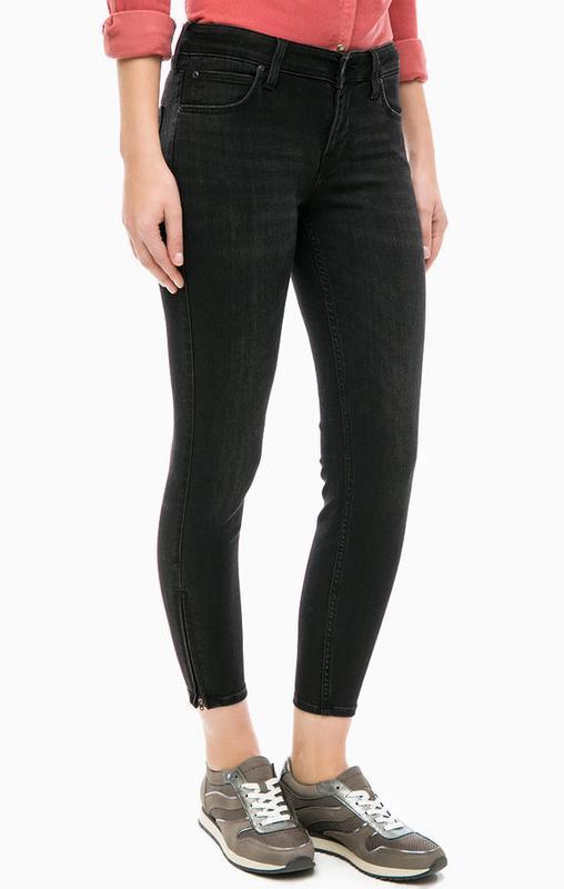 Черные плотные стрейч джинсы скинни узкачи с молниями снизу кр...