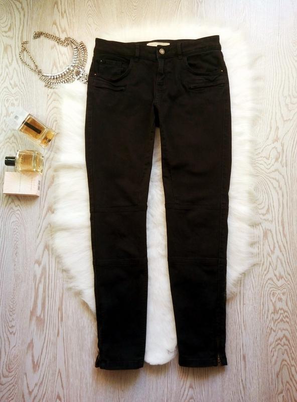 Черные плотные стрейч джинсы скинни узкачи с молниями снизу кр... - Фото 2