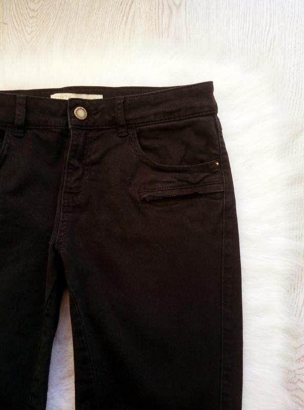 Черные плотные стрейч джинсы скинни узкачи с молниями снизу кр... - Фото 4
