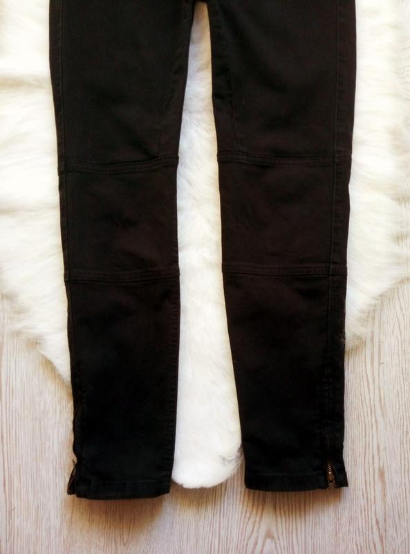 Черные плотные стрейч джинсы скинни узкачи с молниями снизу кр... - Фото 5