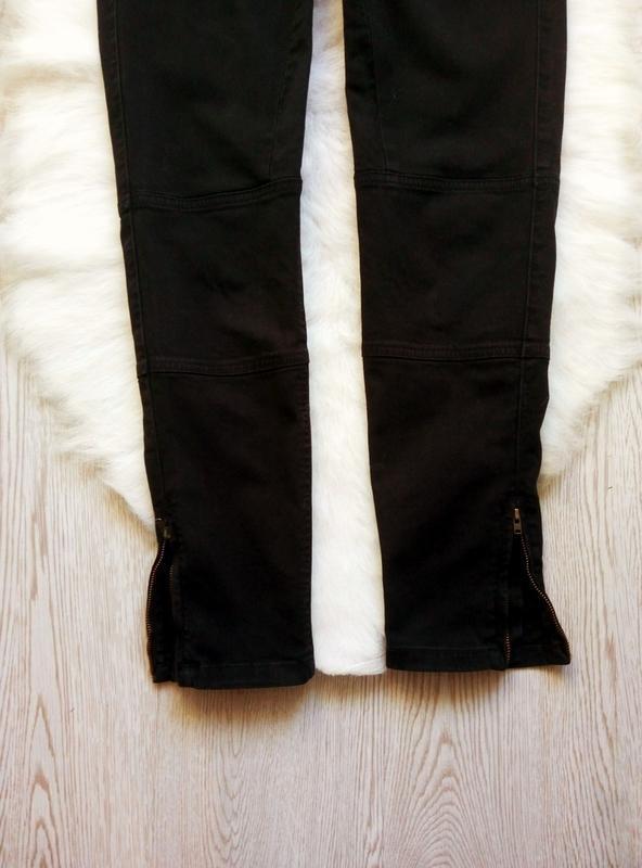 Черные плотные стрейч джинсы скинни узкачи с молниями снизу кр... - Фото 6