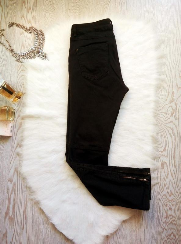 Черные плотные стрейч джинсы скинни узкачи с молниями снизу кр... - Фото 7
