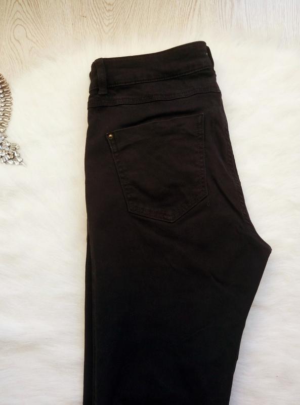 Черные плотные стрейч джинсы скинни узкачи с молниями снизу кр... - Фото 8