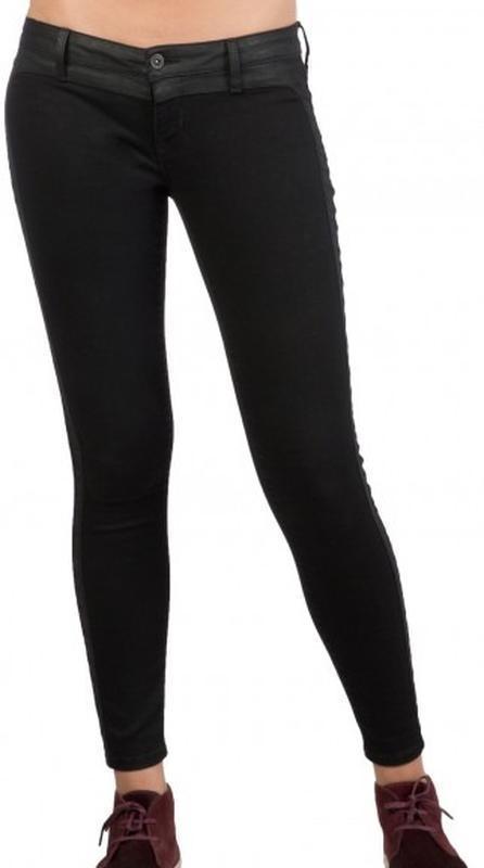 Черные стрейчевые джинсы скинни узкачи низкая талия посадка ам...
