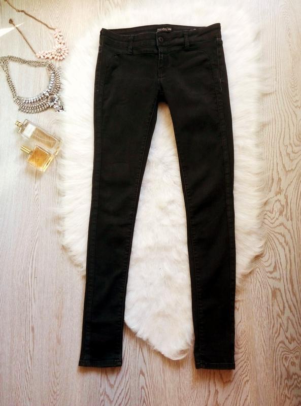 Черные стрейчевые джинсы скинни узкачи низкая талия посадка ам... - Фото 2