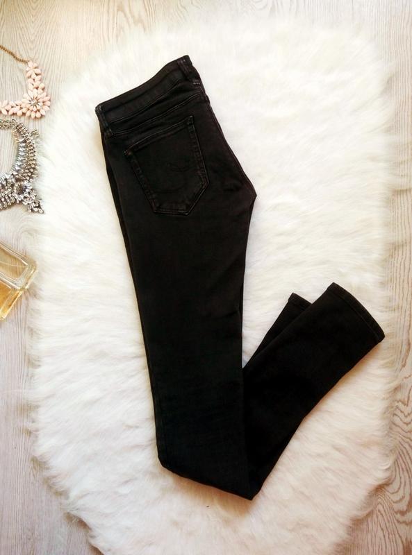 Черные стрейчевые джинсы скинни узкачи низкая талия посадка ам... - Фото 4