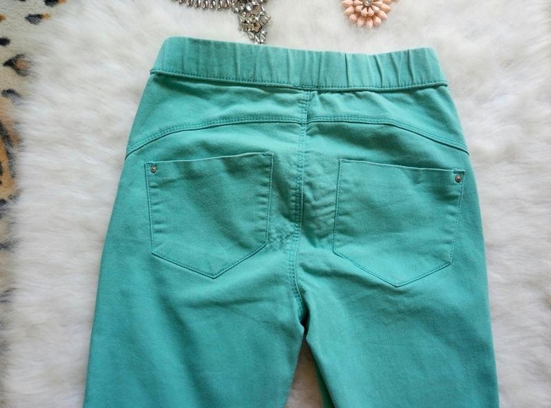 Бирюзовые джинсы скинни со швом пуш-ап узкачи американки джегг... - Фото 3