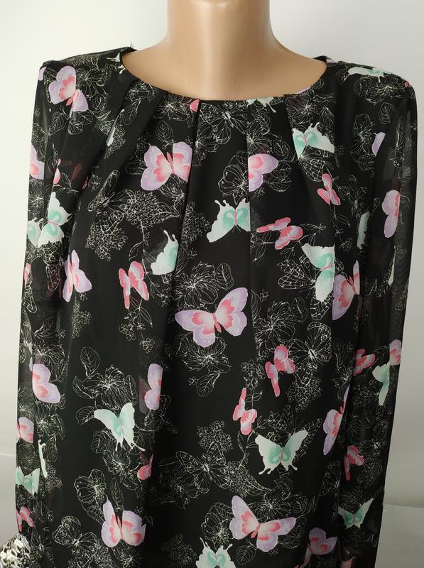 Блуза красивая в принт бабочки на подкладке с паетками на рука... - Фото 4