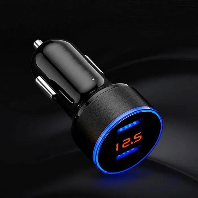 Зарядка USB автомобильная 12/24В 3,1А с вольтметром и амперметром