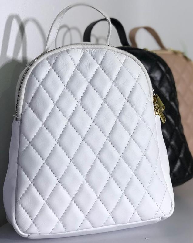 Женский белый рюкзак (натур. кожа, италия)