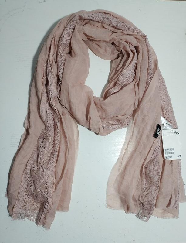 Качественный женский шарф шарфик  с кружевом шведского бренда h&m - Фото 6