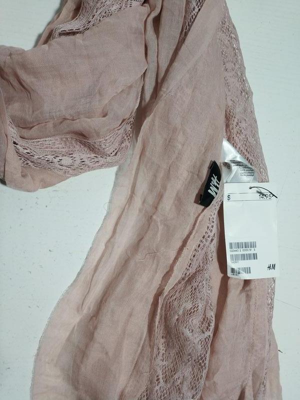 Качественный женский шарф шарфик  с кружевом шведского бренда h&m - Фото 7