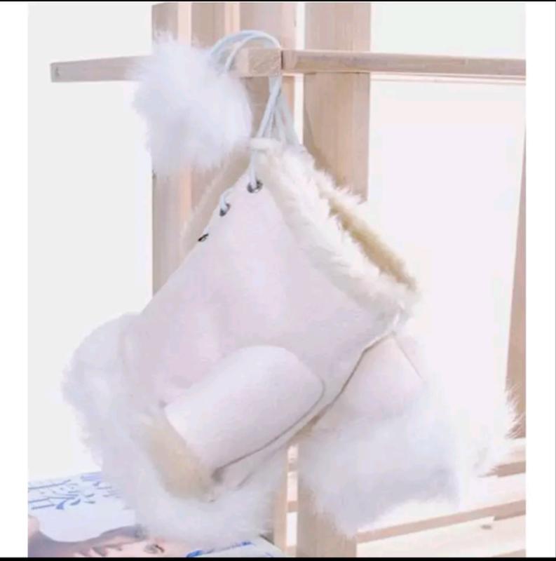 Митенки рукавички без пальцев с мехом белые