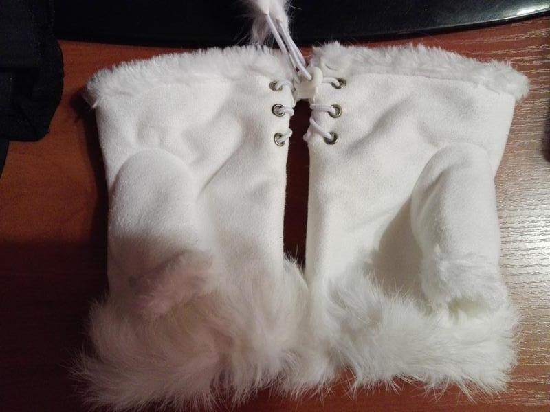 Митенки рукавички без пальцев с мехом белые - Фото 2